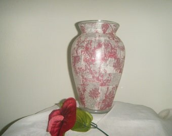 "Red French Toile Vase ""9"""
