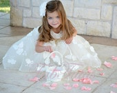 Couture flower girl / special occasion dress by FabTutus with flocked embroidered organza skirt and flutter collar