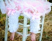Ruffle leg warmers / lacettes with bows and crystals by FabTutus - pick your own colors