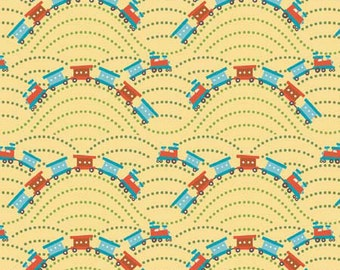 04323 - Deena Rutter for Riley Blake  Scoot collection Trains in yellow color - 1 yard