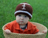 Baby Toddler Boy BROWN & WHITE Football Beanie Hat -- Sizes: Newborn to 10yrs -- Photo Prop, NFL or Team Colors