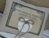 Personalized Ring Bearer Pillow, Beach Wedding, Blue Ring Bearer Pillow, Rustic Wedding, Custom, Summer Wedding
