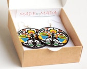 Folky Birds doves  polish folk art motif Earrings Round and Colorful yellow blue green red  orange white black