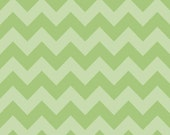 1/2 yard LAMINATED cotton fabric yardage (similar to oilcloth) - 18 x 40 - Green Tonal Chevron - Approved for use in children's products