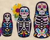 Dia De Los Muertos Matryoshka Dolls Embroidered Flour Sack Hand Towel