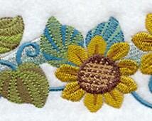 Sassy Sunflower Border Embroidered Flour Sack Hand/Dish Towel