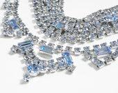 Vintage Blue Crystal Rhinestone Choker & Bracelet