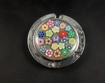 Purse Hook With Sculpy Flowers in Resin