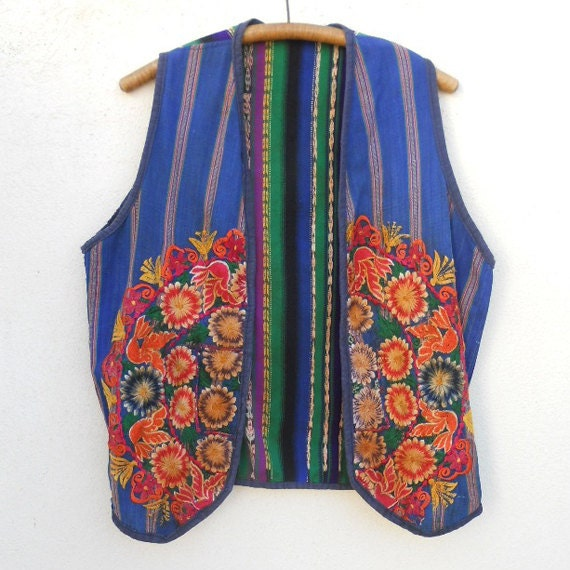 Vintage Guatemalan Striped EMBROIDERED Vest