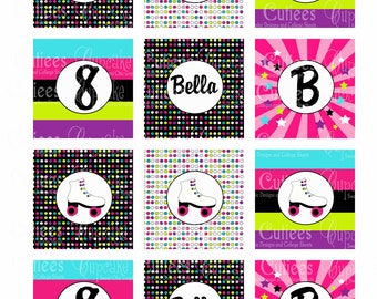 Neon Roller Skating  CUSTOM  Digital  2 Inch Circle Tags N Cupcake Toppers  Personalized PRINTABLE