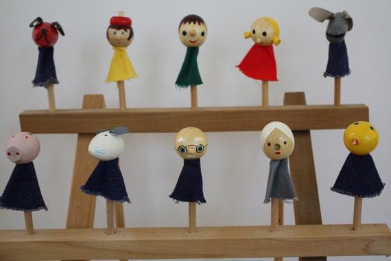 Set of 10 Vintage Wooden Finger Puppets