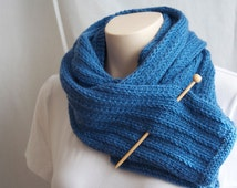 Knitting Pattern Scarf, His-Hers in Blue Wool