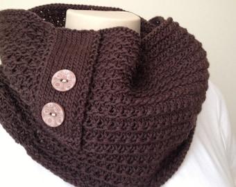 Knitting Pattern Cowl, Chocolaté Cowl,  Infinity Scarf,Brown Chocolate