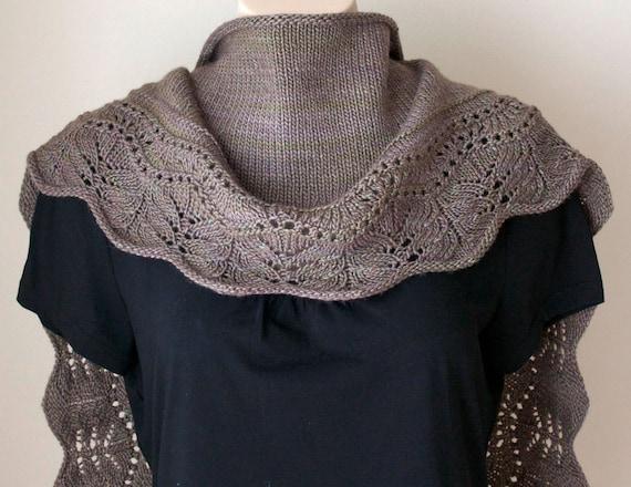 Knitting pattern shawl, Farniente Shawl (small version)  Brown Wool Silk