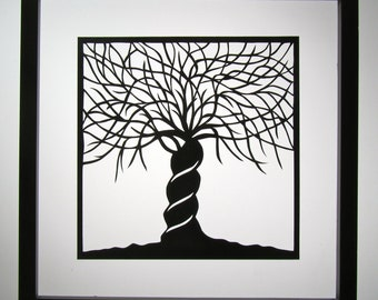 Two TREES Of LIFE As One Home Décor Wall Art Silhouette Paper Cutout, Original Handmade Design Framed Signed One Of A Kind