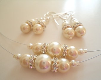 Set of 6 Bridesmaids Gift, Ivory Glass Pearl Necklace and Earrings