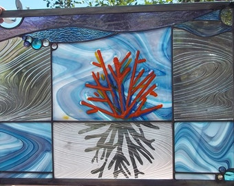 """Stained Glass Window Panel - """"Coral Images"""""""