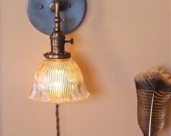 Wall Sconce Lighting - Articulating Reading Light w/ Ruffled Glass Shade - Antique Style Cloth Wire - Hand Finished in Oil Rubbed Bronze