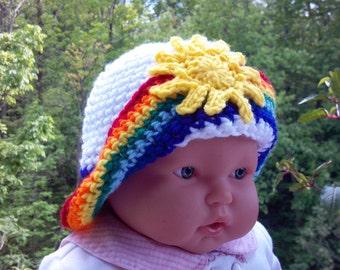 Sunshine and Rainbow hat, all sizes, crochet pattern