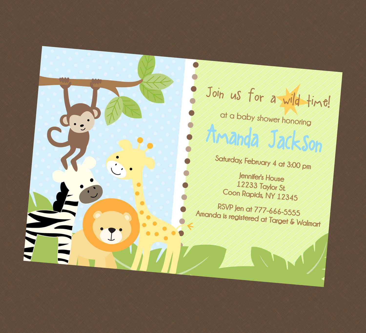 Jungle Safari Baby Shower Invitation By BriezeesBoutique On Etsy
