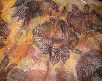 Vintage Black and Golds Floral Design Chiffon Silk Fabric, Vintage Textiles, Vintage Silk, Chiffon Fabric, Floral Fabric,