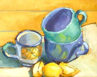 Oil Painting • Original Art • Oil Paintings • Daily Painters • Daily Painting • Lemons & Cups •