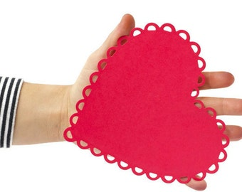 READY TO SHIP | Heart die cut set with scalloped edges 5 inch die cuts. Paper cuts More colors. Valentines gifts