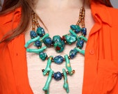 Turquoise Stone Statement Necklace /  Blue and Mint Geometric / Large Chunky Anthropologie Inspired