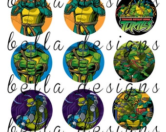 "INSTANT DOWNLOAD Teenage Mutant Ninja Turtles 4X6 Digital Image Sheet 1"" circles. Bottle cap images, jewelry, hairbows"