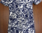 Blue and white abstract patterned tunic dress 60s