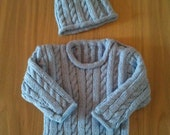 "18"" Soft Blue Cable Knit Jumper with Matching Hat"
