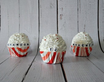 Candy Cane Stripe Fake Cupcake Ornaments- Personalized Christmas