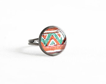 Adjustable tribal ring, native jewelry, folk, ethnic ring