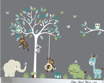 Childrens jungle decal set - nursery wall decal tree with branch jungle decals - 014