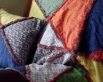 Autumn Crazy Quilt With Matching Pillow