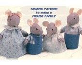 Instant Download PDF Easy Beginners Sewing Pattern to make a Family of Mice in Sunday Best Outfits Mouse Kitsch Table Decoration Soft Toys