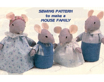 Instant Download PDF Easy Full Size Printable Sewing Pattern to make a Family of Mice in Sunday Best Mouse Kitsch Table Decoration Soft Toys