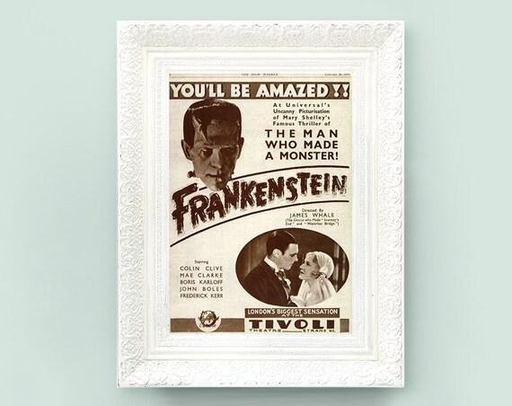 Vintage Movie Print. Halloween Print. Horror Movie Print. Sepia Hollywood Silver Screen Poster, Book Plate Frankenstein 8x11