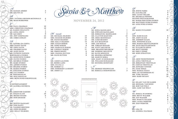 Swirly Seating Chart- Customized color & details and table layout