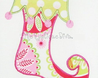 Christmas Whimsical Stocking  Embroidery Design Machine Applique