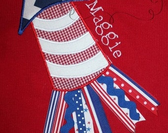 4th of July Ribbon Rocket Embroidery Design Applique