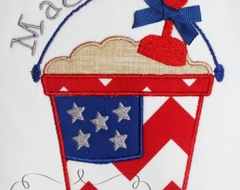 4th of July Flag Sand Pail Embroidery Design Applique