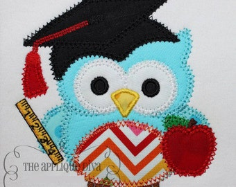 Back To School Bookworm Owl Embroidery Design Machine Applique