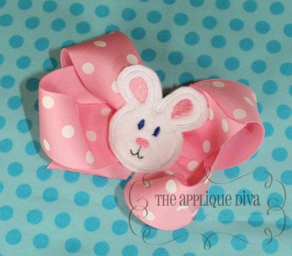 Easter Bunny Rabbit Hair Bow Center Embroidery Design Machine Applique
