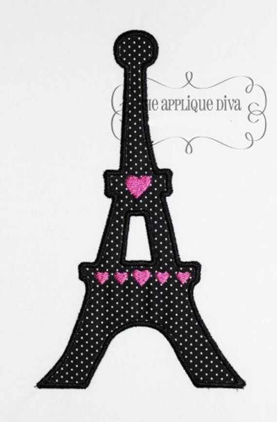 Paris Eiffel Tower  Embroidery Design Machine Applique