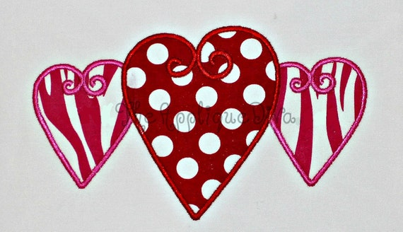 Valentine's Day Three Hearts  Embroidery Design Machine Applique