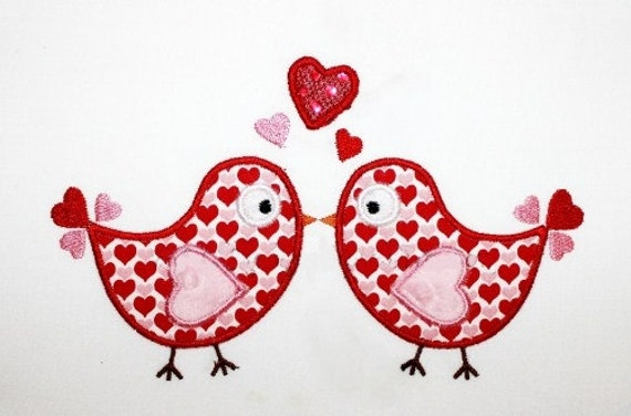 valentines day love birds embroidery design machine applique - Valentines Designs