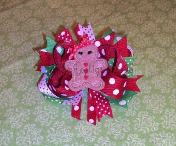 Christmas Gingerbread Girl Hair Bow Center Embroidery Design Machine Applique