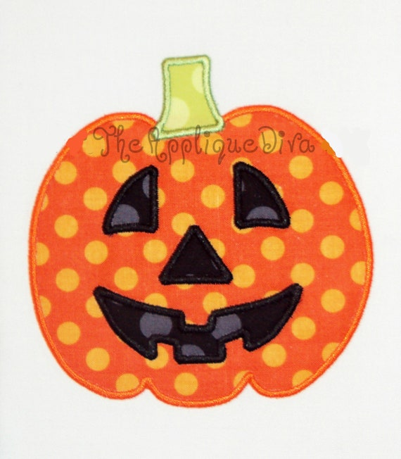Halloween pumpkin with face embroidery design machine applique