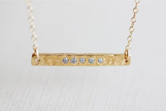 Sideways Gold Bar Necklace - side golden bar 14k gold filled necklace, modern statement jewelry